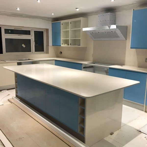 Quartz white worktops