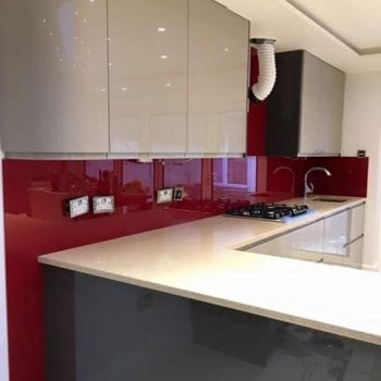 dark red glass splashback