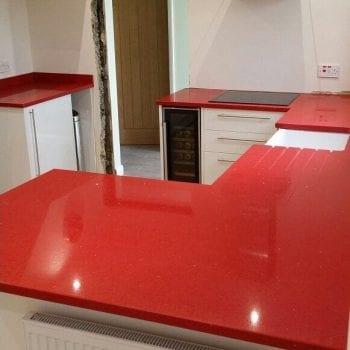 red quartz worktops