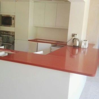 red quartz worktop