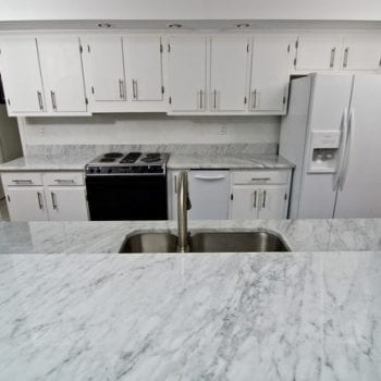 carrara quartz worktop and kitchen island