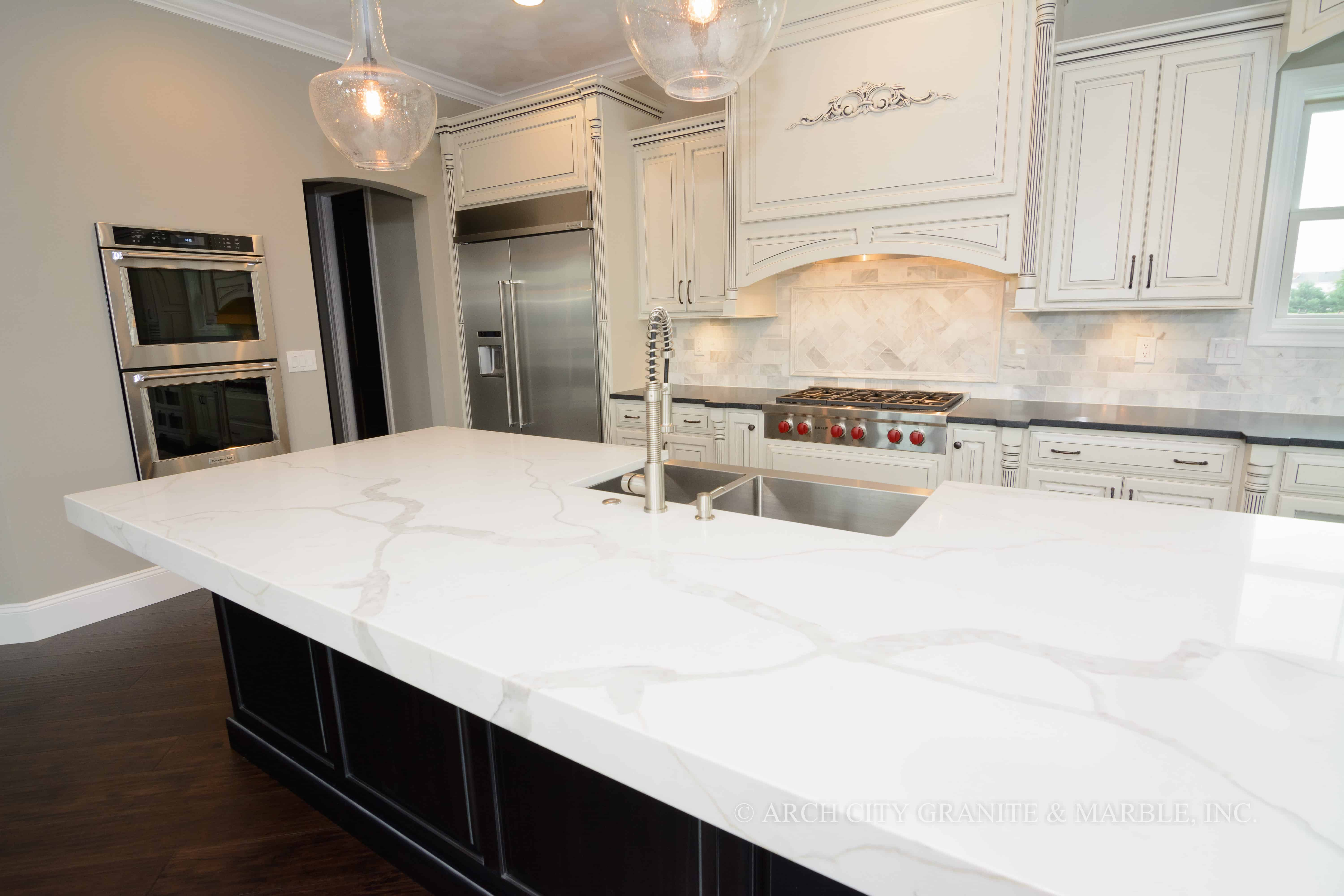 marble worktops, white marble
