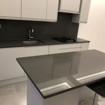 kitchen island dark grey, quartz worktops trade prices