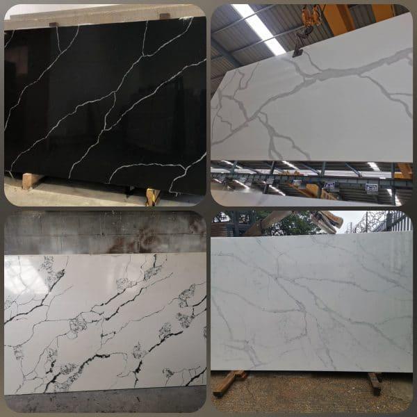 Marble effect quartz slabs